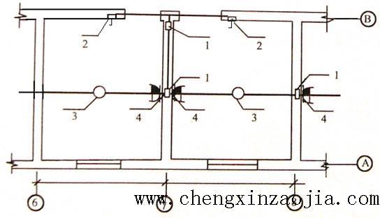 此示意图位置计算接线盒,灯头盒,插座盒,开关盒的数量,并在平面图上画